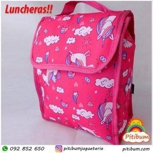 Lunchera para almuerzo o merienda, modelo: Unicornios mundo Rosa