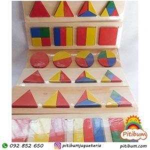 Bloques lógicos en madera, con formas geométricas